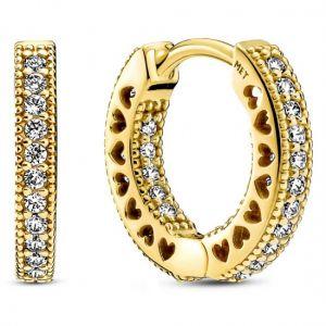 Pandora Pavé Heart Hoop Earrings - Gold Plating-266317C01