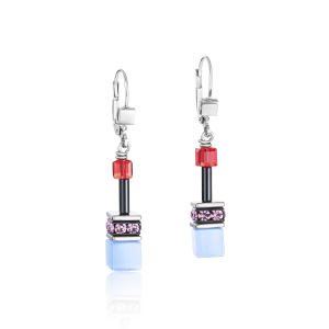 Coeur De Lion GeoCUBE Earrings - Purple Red Blue 2838200841