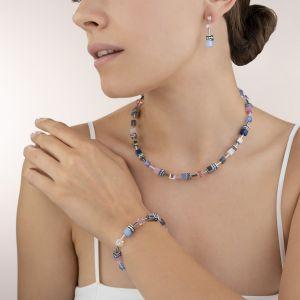 Coeur de Lion GeoCUBE Necklace - Blue and Rose 2839100719