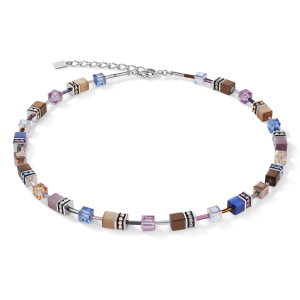 Coeur De Lion GeoCUBE Necklace - Blue Brown Lilac 2839100740