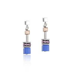 Coeur De Lion GeoCUBE Earrings - Blue Brown Lilac 2839210740