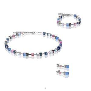 Coeur de Lion Multicoloured Blue/Rose Geocube Earrings 2839/30-0719