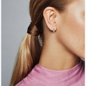 Pandora Pavé Snake Chain Pattern Hoop Earrings 299091C01