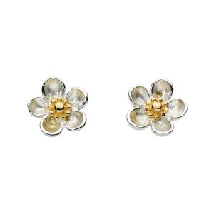 Kit Heath Blossom Wood Rose Gold Plate Stud Earrings 30305GD012