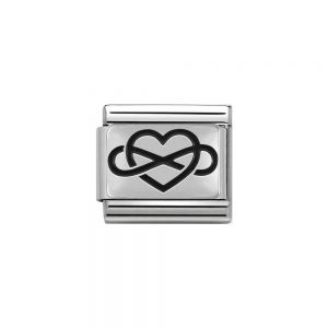 Nomination Classic Charm Oxidised Steel and 925 Silver Infinity Heart