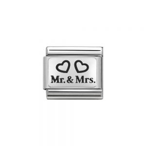 Nomination Classic Oxidised Charm - Stainless Steel and 925 Silver Mr and Mrs