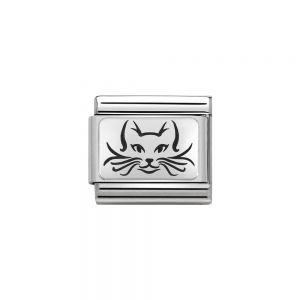 Nomination Classic Oxidised Charm - Stainless Steel and 925 Silver Cat