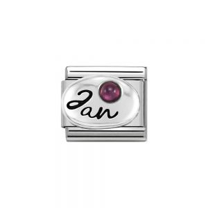 Nomination Classic Sterling Silver January Garnet Birthstone Charm