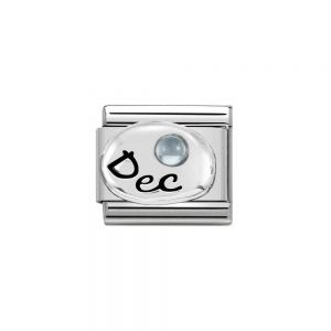 Nomination Classic Sterling Silver December Light Blue Topaz Birthstone Charm 330505_12
