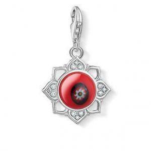 Thomas Sabo Charm Pendant - Silver Lotus with Red Glass
