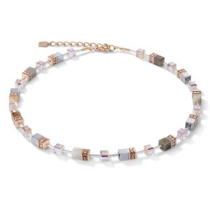 Coeur De Lion GeoCUBE Necklace - Botswana Agate in Apricot 4017100230