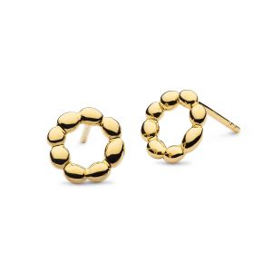 Kit Heath Coast Pebble Beach Hoop Gold Plated Stud Earrings 40208GD028