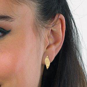 Kit Heath Blossom Eden Small Leaf Gold Plate Stud Earings
