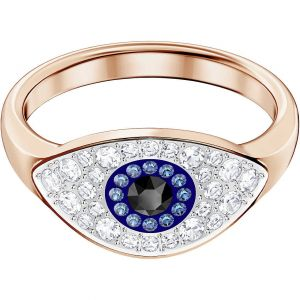 Swarovski Symbolic Evil Eye Ring - Blue with Rose Gold Plating
