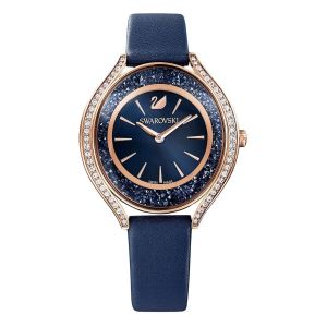 Swarovski Crystalline Aura Watch - Blue with Rose Gold Plating