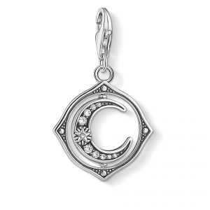 Thomas Sabo Charm Pendant - Rotating Silver Moon with Stones 1854-051-14