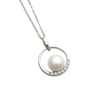 Jersey Pearl Circle Freshwater Pearl and Zirconia Pendant
