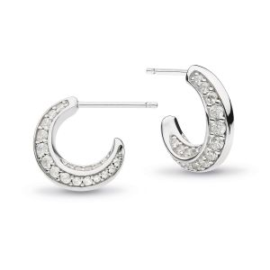 Kit Heath Bevel Cirque Zirconia Semi-Hoop Stud Earrings 
