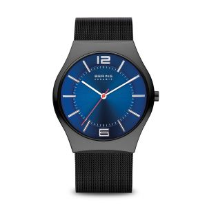 Bering Men's Ceramic Watch - Black  with Blue Dial