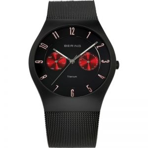 Bering Men's Titanium Watch -  Black with Red Chronograph