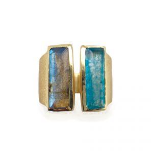Sarah Alexander Bronx Double Gemstone Bar Contemporary Ring