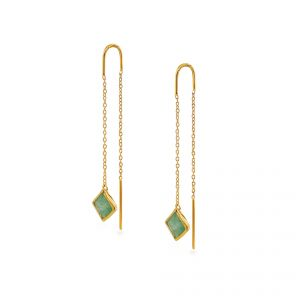 Sarah Alexander Melrose Place Green Aventurine Gold Vermeil Threader Earrings