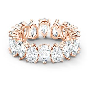 Swarovski Vittore Pear Ring - White with Rose Gold Plating