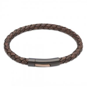 Unique and Co Black Ion Plated Dark Brown Leather Bracelet - 21cm