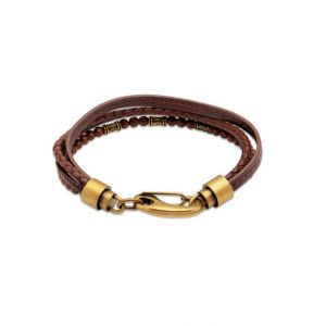 Unique and Co Men's Multi-strand Brown Leather Bracelet with Brass Tone Clasp - 21cm B459DB