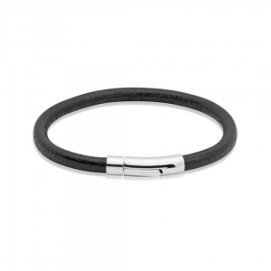 Unique and Co Men's Black Leather Bracelet with Shiny Stainless Steel Clasp - 21cm