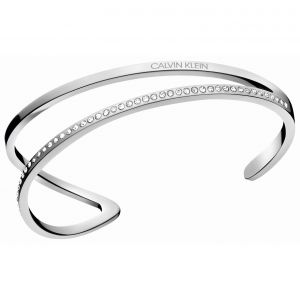 Calvin Klein Silver Tone Outline Open Bangle