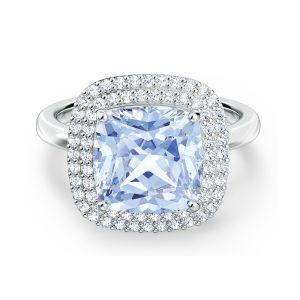 Swarovski Angelic Double Halo Ring - Blue with Rhodium Plating / 55
