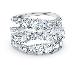 Swarovski Twist Wrap Ring - White with Rhodium Plating / 58