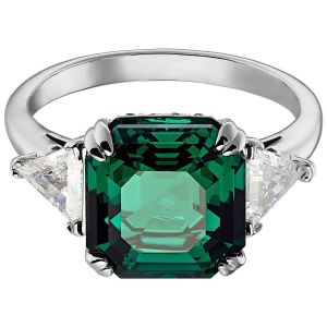 Swarovski Attract Cocktail Ring - Green with Rhodium Plating