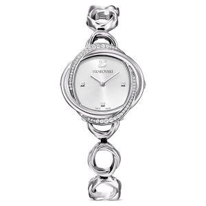 Swarovski Crystal Flower Watch - Metal bracelet, Silver Tone