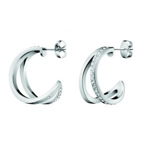 Calvin Klein Outline Hoop Earrings - Stainless Steel and Crystal