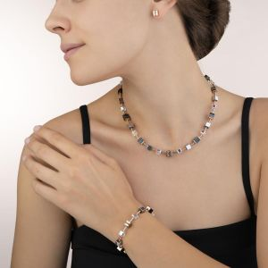 Coeur De Lion White Crystal and Howlite GEOCUBE Necklace in Rose Gold 4965101632