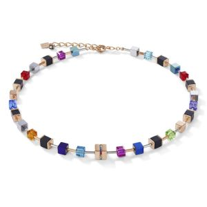 Coeur De Lion GeoCUBE Necklace - Crystal and Multicolour Onyx 4980101500