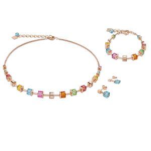 Coeur De Lion Rose Gold and Aquamarine GEOCUBE Earrings 4996211500