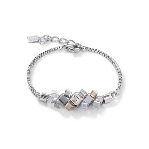 Coeur De Lion GeoCUBE Cluster Bracelet - Silver and Rose 5037301723