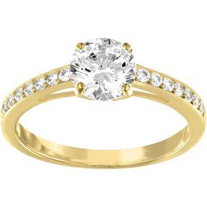 Swarovski Attract Round Ring White, Gold Plated
