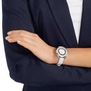 Swarovski Crystalline Oval Leather Strap Watch, White & Silver 5158548