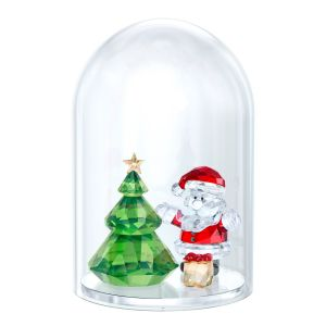 Swarovski Crystal Bell Jar - Christmas Tree And Santa