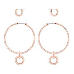Swarovski Stone Pierced Earring Set, Pink, Rose Gold Plating 5426004