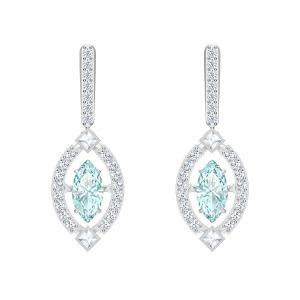 Swarovski Sparkling Dance Pierced Earrings, Blue, Rhodium Plating