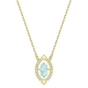 Swarovski Sparkling Dance Necklace, Blue, Gold Plating