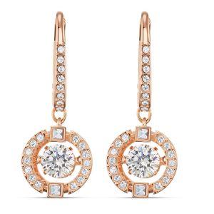 Swarovski Sparkling Dance Pierced Drop Earrings Rose Gold Plated
