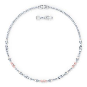 Swarovski Perfection Chaton Necklace, Pink, Rhodium-Plated 5515514