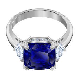 Swarovski Attract Cocktail Ring - Blue with Rhodium Plating