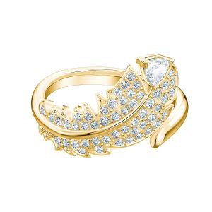 Swarovski Nice Feather Ring - Gold-tone Plated